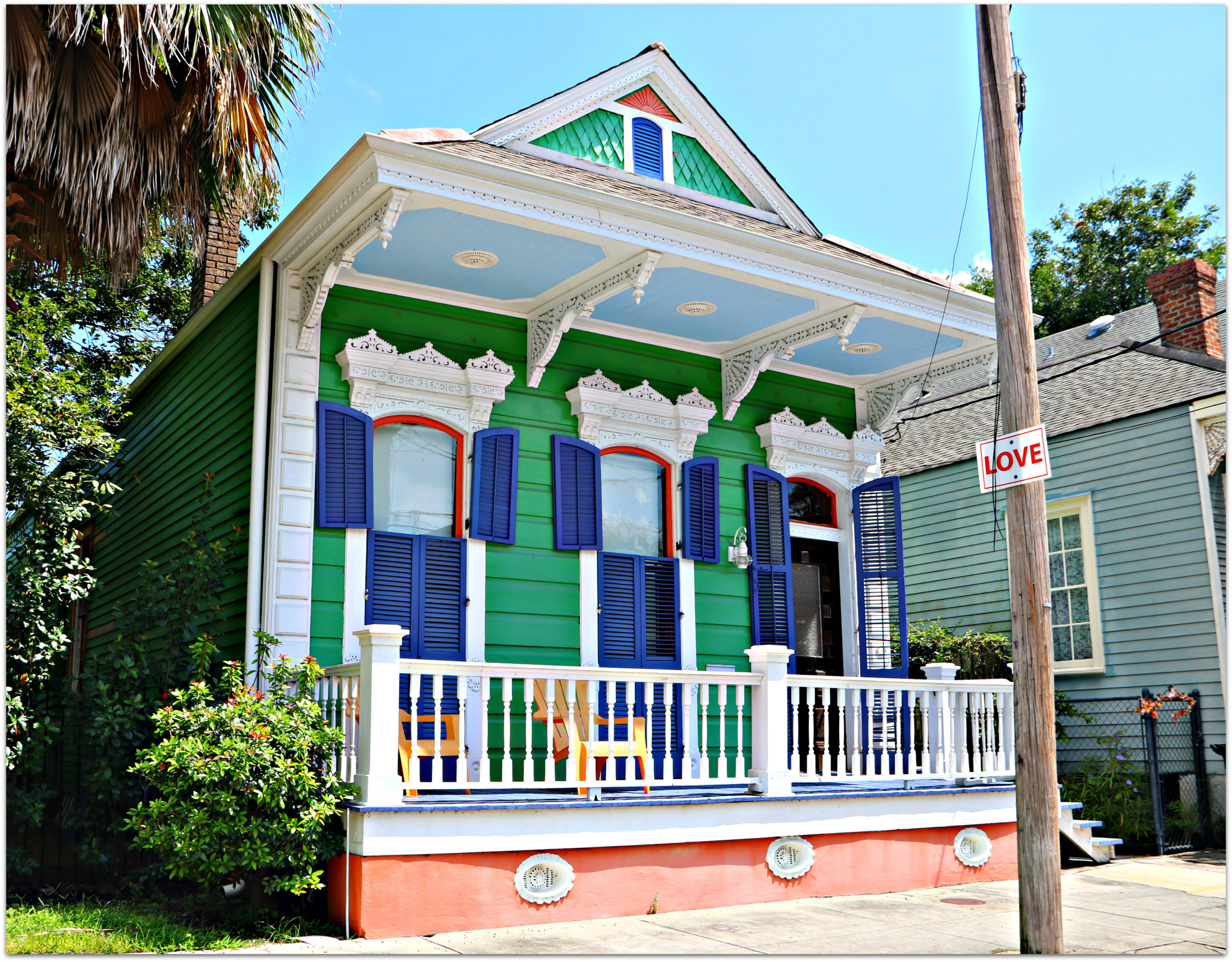 Bywater Home in New Orleans Blue and Green