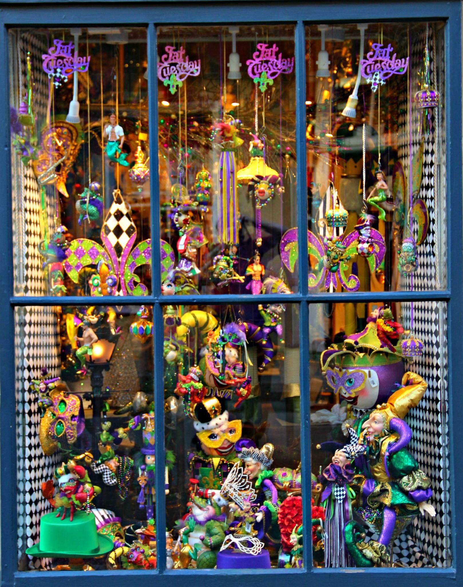 Mardi Gras Window on Royal Street