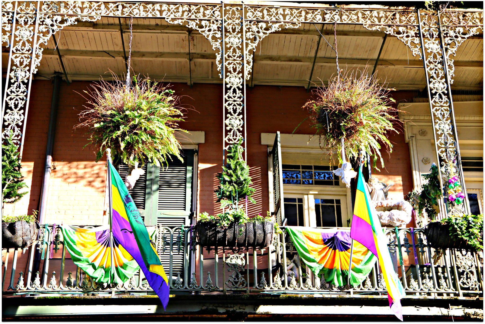 mardi gras balcony rental Mardi Gras Flags On Balcony New Orleans French Quarter Condos